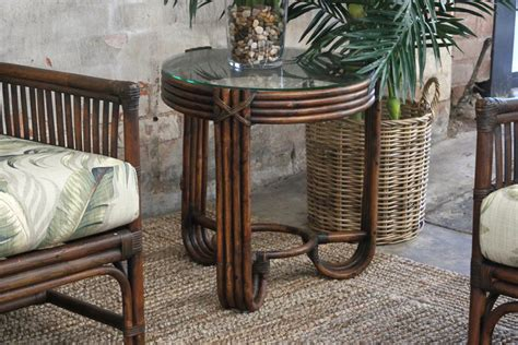 vintage verandah table ls pretzel side table naturally rattan and wicker 6877