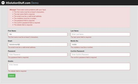 laravel 5 3 form input validation rules exle with demo