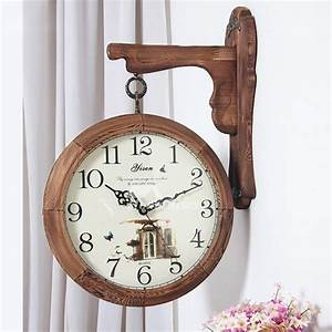 Unique, Rustic, Decorative, Double, Sided, Analog, Silent, Wall, Clock, Wooden, Used, For, Living, Room