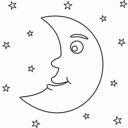 Coloring Moon Night Stars Awesome Sky Pages