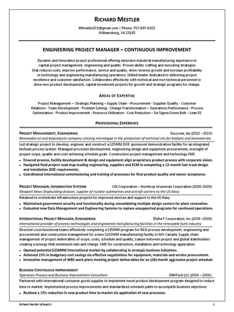 engineering project manager continuous improvement in