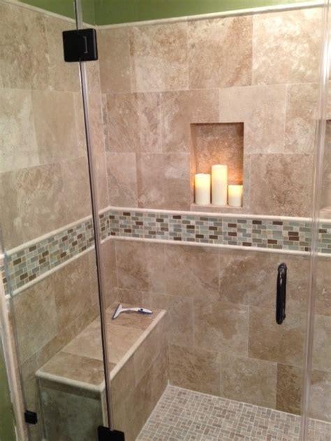 travertine shower traditional bathroom los angeles