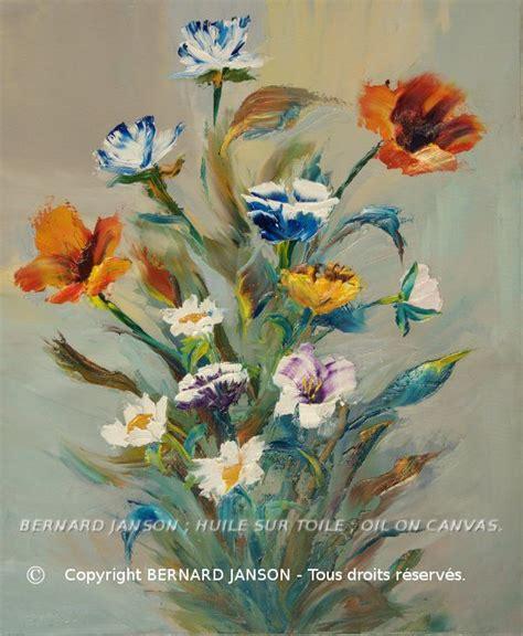 oeuvre de peinture huile au couteau bouquet de fleurs des
