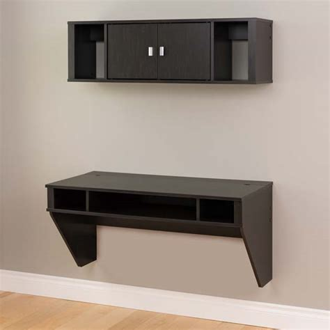 wall mounted computer desk wall mounted floating computer desk and hutch w storage new ebay