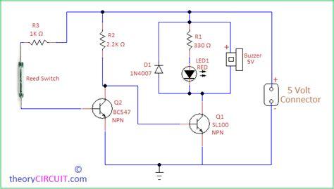 Door Open Alarm Circuit Using Reed Switch