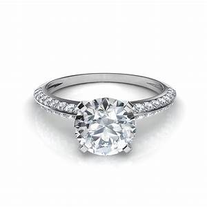two row knife edge pave diamond engagement ring With pave diamond wedding rings