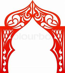 Red indian Arch isolated on white background Cut Welcome