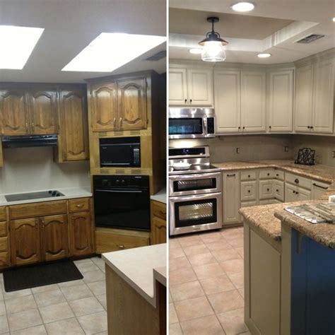 Before and after for updating drop ceiling kitchen