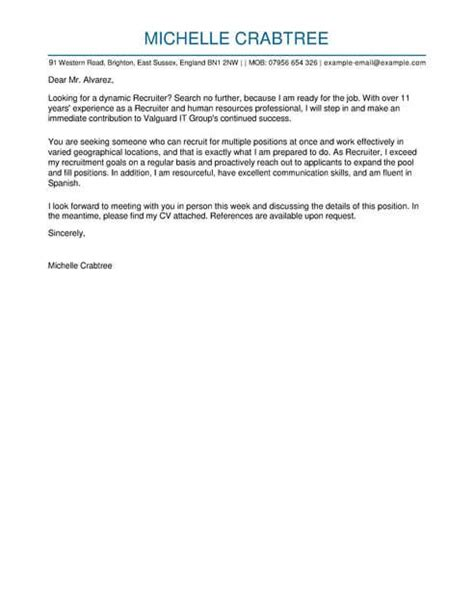 Sle Cover Letter For Recruiter Position by Cover Letter Sle Recruiter Position Expert Protect