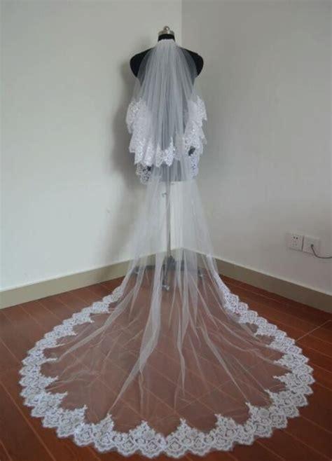 Bride Veils Whiteivory Applique Tulle 3 Meters Veu De