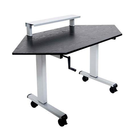 stand up height adjustable desk luxor adjustable height stand up corner desk silver and