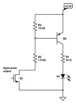 Microcontroller Driving Led With Open Drain Digital