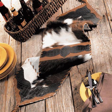 Cowhide Runner by Cowhide Croc Leather Table Runner 72 Inch