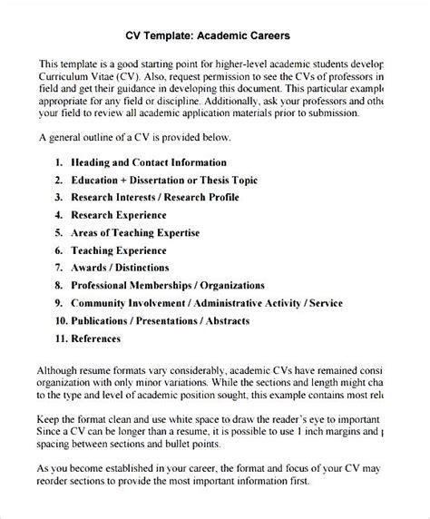 academic cv template printable pdf free sles