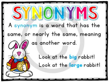synonyms task cards  st    grade  lindy