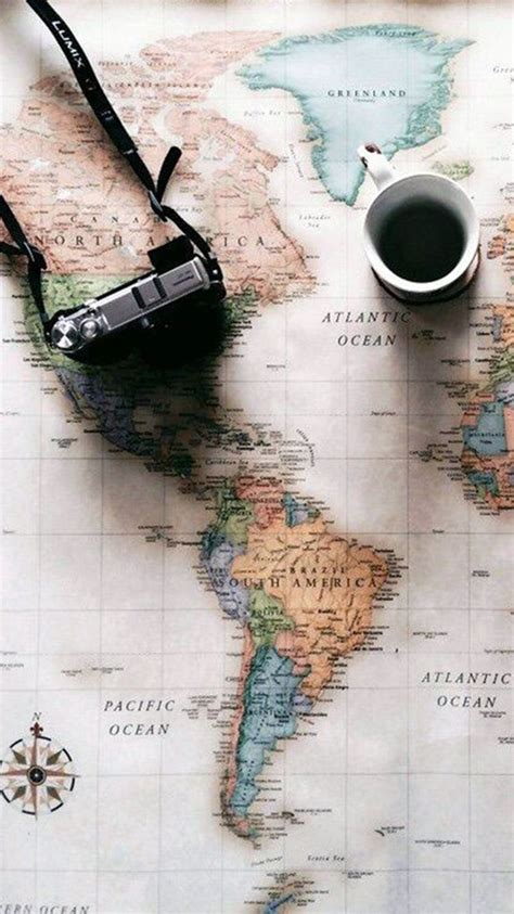 world map travel plans camera coffee iphone  wallpaper