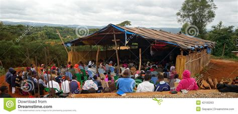 Church Chairs 4 Less by Protestant Church In Tanzania Editorial Stock Photo