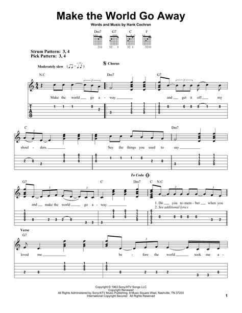 make the world go away by eddy arnold easy guitar tab guitar instructor