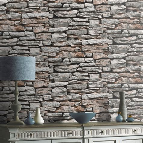 Striped Wallpaper Living Room by Arthouse Vip Moroccan Stone Wall Brick Photographic