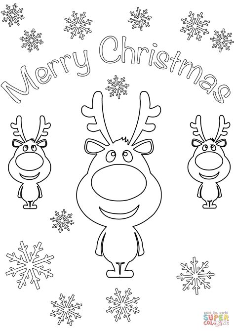 merry christmas card  cartoon reindeers coloring page
