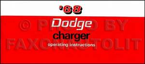 1968 Dodge Charger And Rt Owners Manual Operating