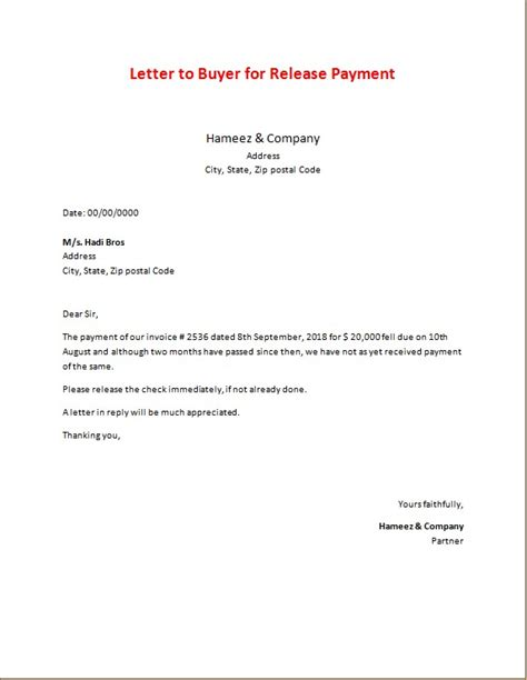 miscellaneous payment letters microsoft word excel