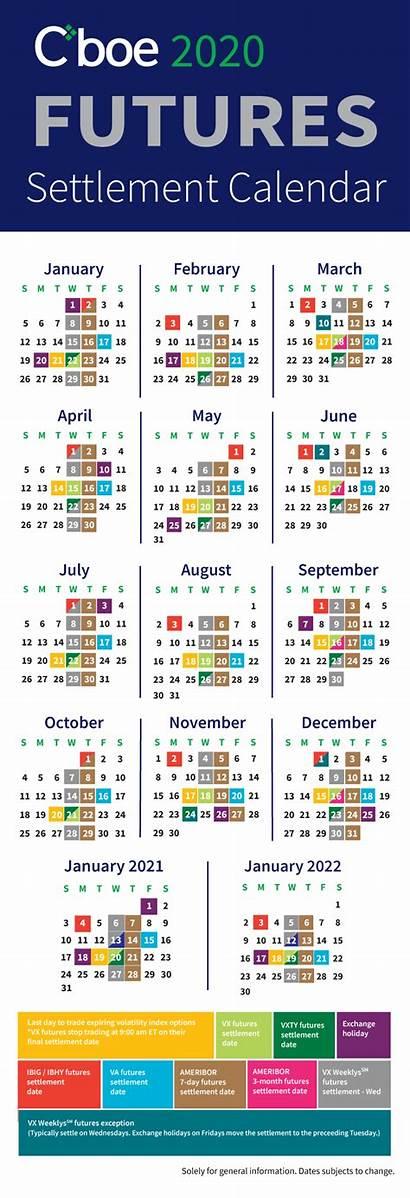 Calendar Expiration Holiday Futures Calendars Exchange Cboe