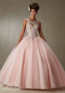quinceanera dress 89067 embroidery and beading on a tulle With robe quinceanera