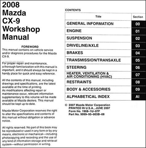 old car repair manuals 2008 mazda cx 9 electronic toll collection 2008 mazda cx 9 repair shop manual original