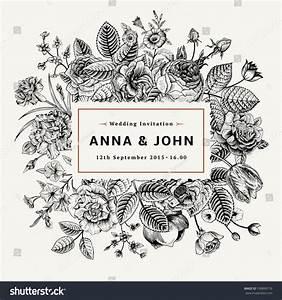 Vintage Elegant Wedding Invitation Summer Flowers Stock ...