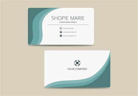 teal business card template vector   vectors