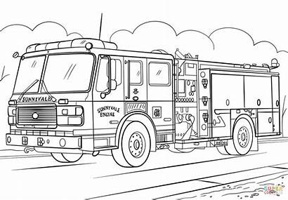 Coloring Fire Truck Pages Printable Drawing Paper