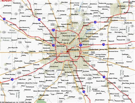 map  central indiana cities  travel information