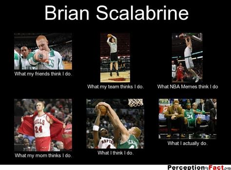 Brian Scalabrine Meme - brian scalabrine what people think i do what i really do perception vs fact
