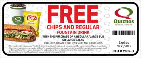 14283 Food Coupons By Mail by Quiznos Free Chips Printable Coupon