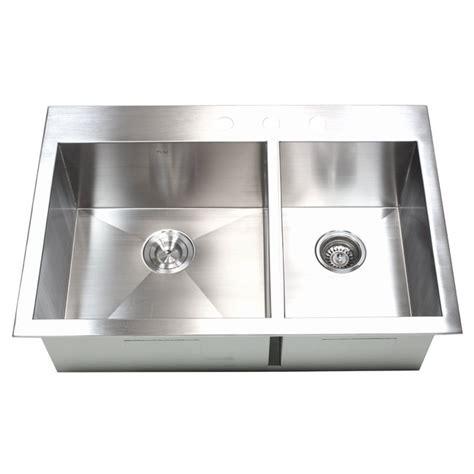 60 40 drop in kitchen sinks 33 inch top mount drop in stainless steel 60 40 double