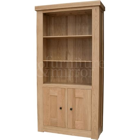 Chunky Bookcase by Chunky Two Door Solid Oak Bookcase Furniture And Mirror