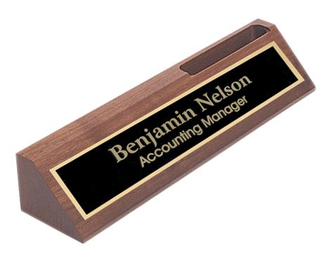 desk name plate with card holder personalized walnut name plate bar w business card holder