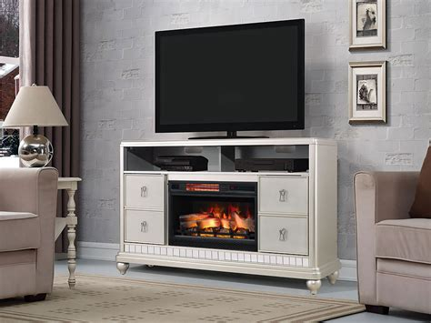 Diva Electric Fireplace Tv Stand In Platinum Silver White Kitchen With Brass Hardware Small Decor Ideas Outdoor Sparkle Worktop How To Store Spices In A Classic Design Renovation Idea