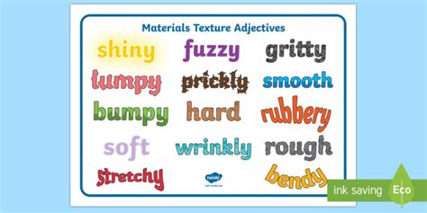 materials texture adjectives word mat materials texture