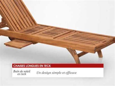 chaise longue teck chaise longue bain de soleil en teck 200 cm tek import