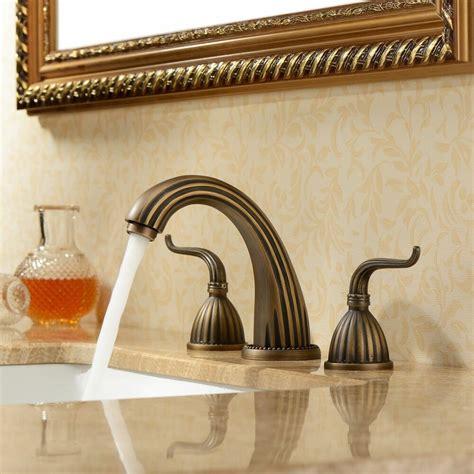 Antique Bathroom Faucets Fixtures by Antique Copper Widespread Bronze Bathroom Sink Basin