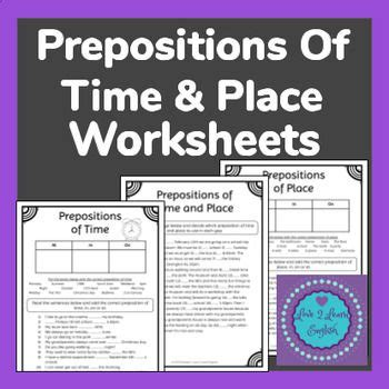 prepositions  time place worksheets