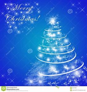 Blue Merry Christmas Greeting Card With Christmas Tree ...