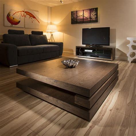 Extra Large Modern Square Dark Elm Brown Wood 12mt Coffee