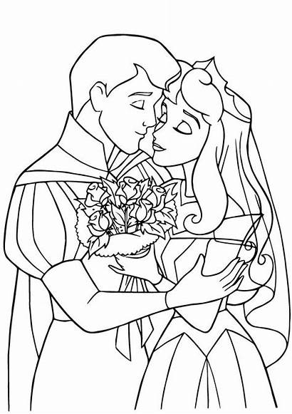 Coloring Sleeping Pages Beauty Prince Princess Disney