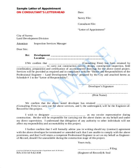 contractor appointment letter template   word