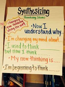 Vocabulary Anchor Chart Synthesizing Sentence Starters Chart Reading Anchor