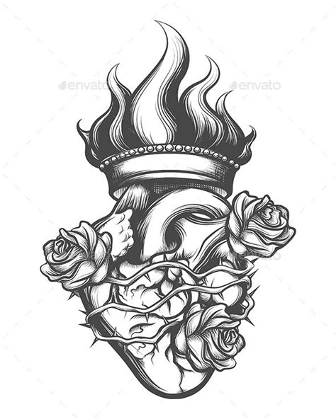 Sacred Heart Engraving Illustration - Tattoos Vectors | Sacred heart tattoos, Engraving
