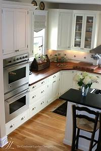 Light floor white cabinets dark wood countertops custom for Kitchen wood cabinets white countertops
